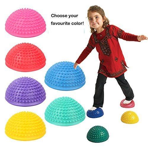 oubei sports massaggi ad alta densità yoga irti palla mezzo tondo per bambini e athletics - rosso