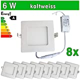 8 x Funda utlrafina LEDVero Panel LED SMD 2835 6 W cuadrado blanco frío de la lámpara luz de techo del punto