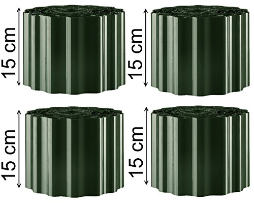 EXCOLO Rasenkante Beeteinfassung Beet-umrandung Rasen-begrenzung Rasen-einfassungen 36 m lang 15 cm hoch Farbe grün