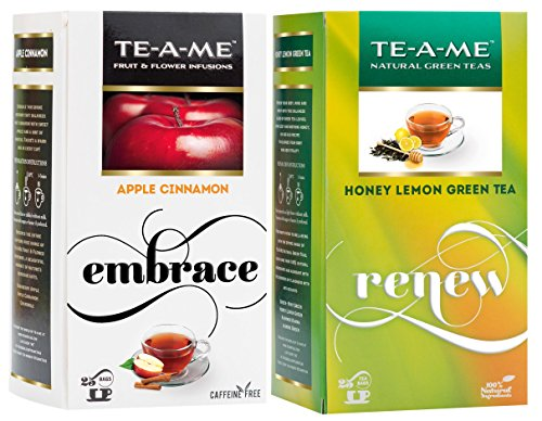Te-a-me Honey Lemon Green Tea & Cinnamon Tea Combo - 50 Tea Bags