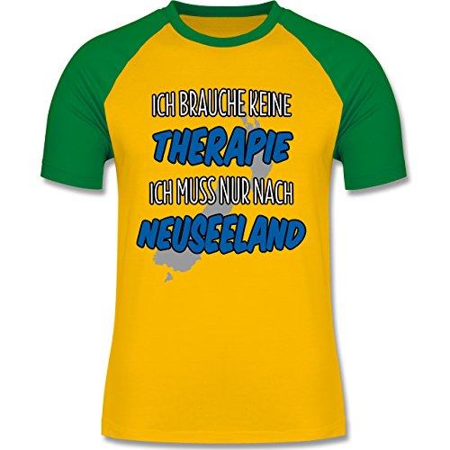 Länder - Ich brauche keine Therapie ich muss nur nach Neuseeland - zweifarbiges Baseballshirt für Männer Gelb/Grün