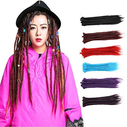 Fousamax Häkeln Sie Dreadlocks, 20 Zoll handgemachte synthetische Twist Flechten Haarverlängerungen für Mode Reggae Haar Hip-Hop-Stil - Synthetische Haarverlängerungen