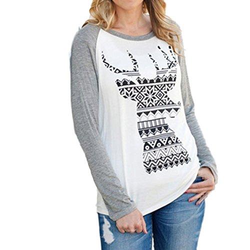 Ninasill Damen Bluse, ღ ღ Weihnachten Elk Runde Kragen Baumwolle Lange Sleeve Casual Tops Casual X-Large Weiß (Machen Zu Halloween-pins)
