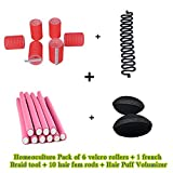 Homeoculture-set-of-hair-puff-volumizer-,-velcro-roller,-10-fem-rods-and-French-braid-tool