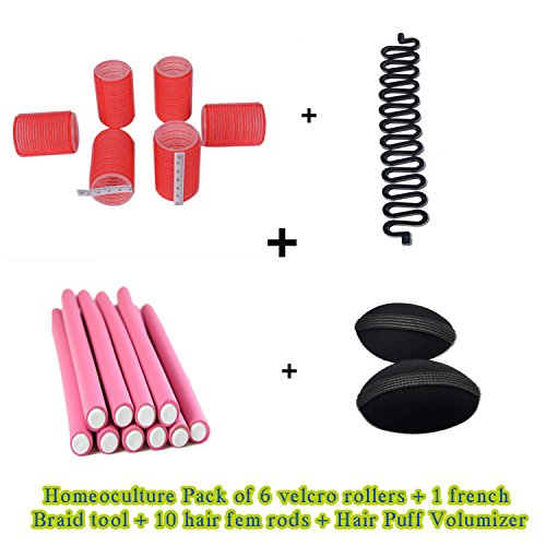 Homeoculture set of hair puff volumizer , roller, 10 fem rods and French braid tool