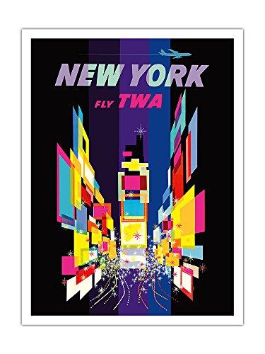 Pacifica Island Art New York - Times Square - Trans World Airlines Fliegen TWA - Vintage Retro Fluggesellschaft Reise Plakat Poster von David Klein - Premium 290gsm Giclée Kunstdruck - 30.5cm x 41cm -