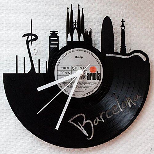 GRAVURZEILE Wanduhr aus Vinyl Schallplattenuhr Skyline Barcelona Upcycling Design Uhr Wand-Deko Vintage-Uhr Wand-Dekoration Retro-Uhr Made in Germany