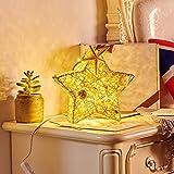 czos88 Nachtlampe Taste Hohe Kompatibilität Schlafzimmer Pentagramm Form Dekorationen Niederspannung Einfach zu bedienen Rattan Energiesparende B-Schnittstelle Led Home Mild Lighting(ärfarbe)