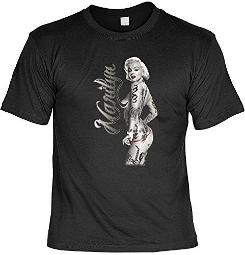Marylin Shirt /T-Shirt/Baumwoll-Shirt lässiger Monroe-Aufdruck: Tattoos - cooles Motiv Schwarz