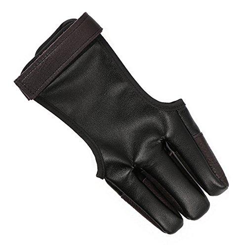 TOOGOO Bogenschiesshandschutz Handschuh Fingerschutz Traditioneller Schiesshandschuh Passt Fuer die Jagd Traditioneller Langer Bogen, Rechte Linke Hand -