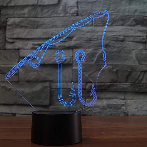 Lixiaoyuzz 3D Nachtlampe 7 Farben Ändern Visuelle Led Angelrute Modellierung Usb Wohnkultur Tischlampe Angelhaken Werkzeuge Leuchte