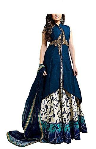 HK Textile Women's Designer Western Blue Dress Material Tafeta Embroidery Work/Party Wear...