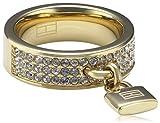 Tommy Hilfiger jewelry Damen-Ring Edelstahl IP gold beschichtet Schloss Anhänger Swarovski-Kristalle weiß Gr. 52 (16.6) 2700397B