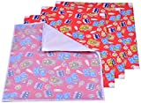 Kuchipoo Baby Mat Changing Mat - Pack of 3 + 1 (Multy , 60 cms x 45 cms) Assorted Patterns (Red)