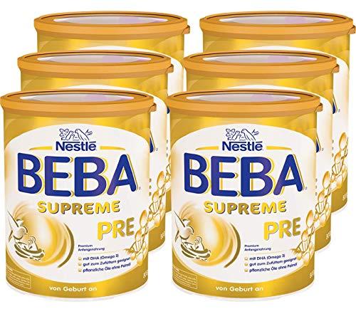 Nestlé BEBA SUPREME PRE Anfangsnahrung: von Geburt an, Pulver, mit Omega 3, 6er Pack (6 x 800g) -