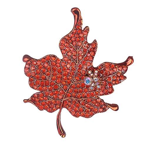 Rote Blume Pin Brosche (Sharplace Damen Anstecknadel Kristall Blumen Brosche Pin Kristall Strass Ahornblatt - Orange Rot)