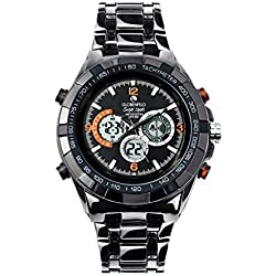 Globenfeld Super Sport Metal Wrist Watch with 3-Function Analog/Digital Display, Stopwatch and Tachymeter; Water Resistant up to 30 Meters (Black)
