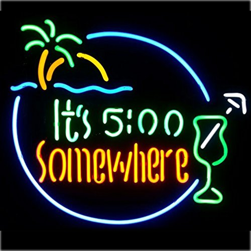 "Its 5:00 Somewhere Real Glass Neon Light Sign Home Beer Bar Pub Recreation Room Game Room Windows Garage Wall Sign (17""×14"" Large)"