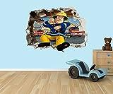 Feuerwehrmann Sam 3D Effekt zerstörten Loch in Wand Vinyl Aufkleber–geeignet für Kinder Schlafzimmer Wände, Türen und Fenstern., plastik, Extra Large 80 x 55cm