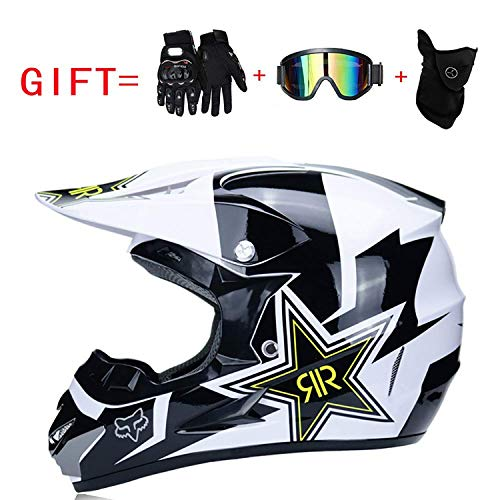 Yedina Juvenile Motocross MX Motorcycle ATC Scooter ATV Helm D.O.T Certification Gift Gloves Goggles Mask Three-Piece (S, M, L, XL),L (Mx-juvenile)