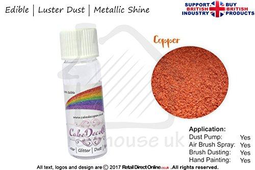 Pure Metallic Effekt Glanz Shimmer Staub | 100% Essbar | Kupfer Gold | 4Gramm | Kostenlose...