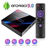 Android 9.0 TV Box Smart Media Box 4GB RAM 32GB ROM RK3318 Quad Core Bluetooth 4.2 WiFi 2.4G & 5G Ethernet 1USB 3.0 & 1USB 2.0 Set Top Box Support 4K Ultra HD Internet Video Player