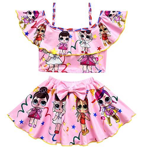 Kostüm Schwimmen Alten Tag - QYS Mädchen Überraschung Schwimmen Kostüm Zweiteilige Badebekleidung Badeanzug Tankini Badeanzug für Kinder Mädchen,pink,140cm