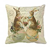 Vintage French Easter Bunnies Pillowcase 18x18