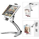 iKross 2 en 1 Robuste Support Mural, Support Multi-Angles Stand, Portable Stand en Aluminium, Multi-Usage, Réglable, Suspendu, au Debout, dans Cuisine, Bureau, Table, Au Lit, pour Tablette de 7 à 12 pouces Apple iPad, Google Nexus, Samsung, Asus ZenPad et plus