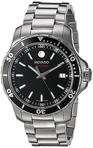 Movado Series 800 Homme 40mm Bracelet & Boitier Acier Inoxydable Saphire Quartz Cadran Noir Montre 2600135