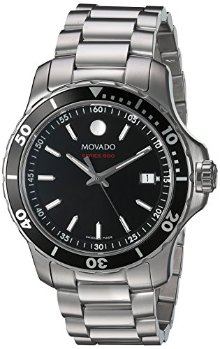 0339c36c186 Movado Men s Series 800 40mm Steel Bracelet   Case Sapphire Crystal Swiss  Quartz Black Dial Watch