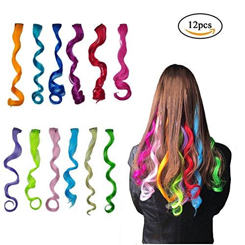(Highlight Haarverlängerungen Multi-Farben Party Highlight Clip auf Haar Salon Versorgung Curly Perücken für Frauen 50 cm / 20inch (12 pcs lockig))