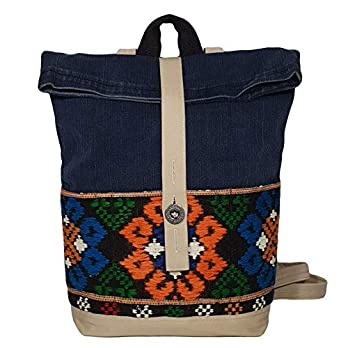Denim Tagesrucksack Daypack Moderner Rucksack aus Jeansstoff mit Ethno Fronttaschen für Mama Frauen Mädchen Jeanstasche…