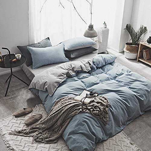 HKYMBM Bedsure Bettbezug-Sets Aus 100% Gewaschener Baumwolle, Weich Atmungsaktiv, Komfortabel, Langlebig, Bettbezug-Set Im Modernen City-Chic-Stil,B,King -