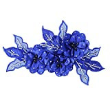 Accesorio de flores rojas de tela con encajes y lentejuelas brillantes, elemento decorativo para diademas de novia, para broches, para cintas de pelo azul