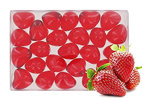 Box of 24 oil bath pearls - hearth shaped - fragrance strawberry