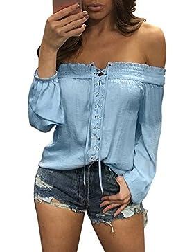 LuckyGirls Mujer Camisetas 3/4 Manga Color Sólido Plisado Vendaje Expuesto Hombro Sexy Tops Blusa Sudaderas Camisas