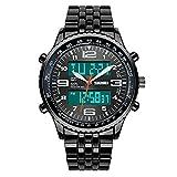 Para hombre resistente al agua deporte relojes LED analógico digital Pantalla Reloj de pulsera de cuarzo con carcasa de aleación de