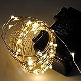 Guirnalda Cadena de Luces Tiras de LED de Navidad Bodas Fiestas Decorativas para Interior Exterior 6 Metros 60 LED Iluminacion Dorada con 8 Modos de Caja de Bateria Impermeable de Enuotek