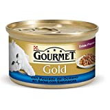 Gourmet Gold- Lata de comida para gatos doble placer con Pescado del Océano en Salsa con Espinacas, 85g