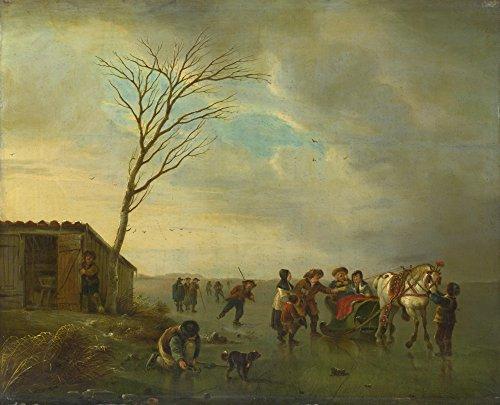 Das Museum Outlet–Andries Vermeulen–Eine Szene auf dem Eis–Leinwanddruck Online kaufen (61x 81,3cm) (Eis-skulpturen-buchstaben)