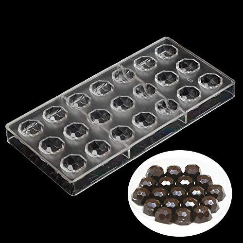 Pralinenform für Süßigkeiten, 21 Einteilungen in Diamant-Form, transparenter Kunststoff, Polycarbonat (PC), handgefertigt, Schokoladenherstellung, Gebäck, Dessert, Backform, Kuchendekoration