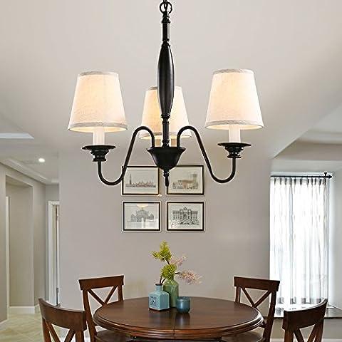 Winson elegante design elegante in stile vintage da soffitto pendente tonalità di luce elegante illumina Ciondolo American lampadari in ferro ,3 testa villaggio riso tappo