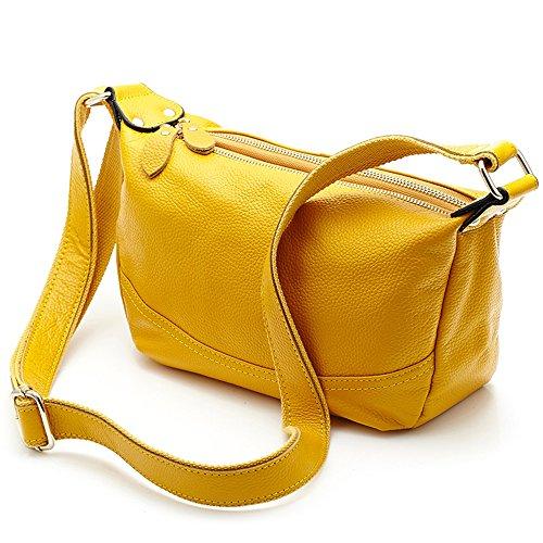 MeiliYH Damen Ledertasche Weiche Mode Schrägen Weiblichen Paket für Frauen helles Gelb