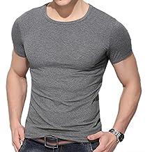 Naturazy-Camiseta Hombres, Blusa Superior De Manga Corta Casual Top Blusa V para Hombre De Verano Delgada SóLida Ocasional De Los…