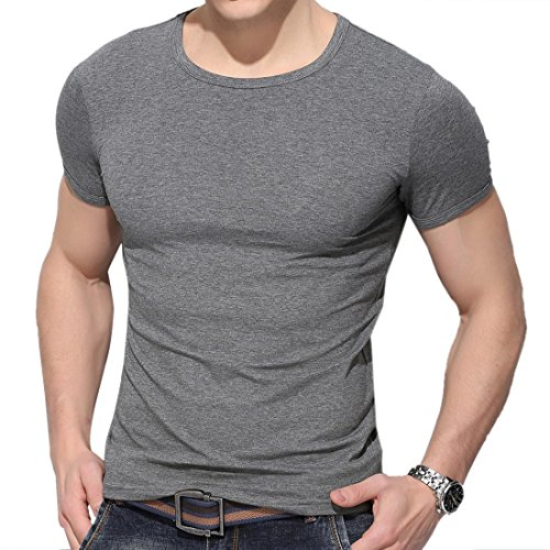 QIYUN.Z Lässige Männer Einfarbig Kurzarm Rundhals Bodycon Dünnes Hemd Bluse T-Shirt Dunkelgrau
