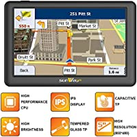 5 inch car GPS navigation SAT NAV with IPS & high brightness (seen under sunlight in any direction) capacitive Touch panel UK & Full Europe Map for Car & Truck Daily Use Travel(8GB)