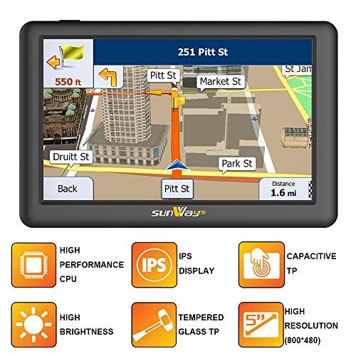 5-Zoll-Auto GPS-Navigation SAT NAV mit IPS & hohe Helligkeit (unter Sonnenlicht in jeder Richtung gesehen) kapazitive Touch-Panel UK & Full Europa Karte für Auto & LKW täglichen Gebrauch Reisen (8 GB) (Maps Mit Google Gps-navigation)