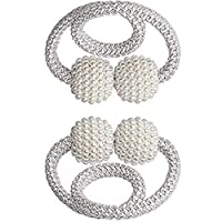 2 PCS Curtain Magnetic Tiebacks Fashion Home Drapes Window Curtain Tiebacks Strong Magnet Pearls Ball Strap Holdbacks Grey