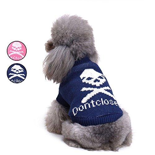 2 Muster Owl Gestrickte Hundepullover, Blau Urlaub Strickwaren Oberbekleidung Rollkragen Hundeweste Bekleidung für kleine Hunde von HongYH (Holiday Plaid Pyjama)